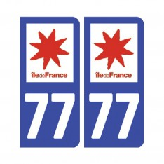 Sticker plaque Seine-et-Marne 77 - Pack de 2