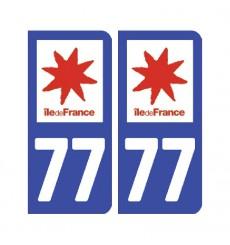 Sticker plaque Seine-et-Marne 77 - Pack de 2