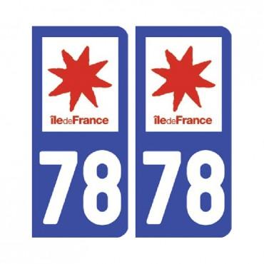 Sticker plaque Yvelines 78 - Pack de 2 - Île-de-france & stickers muraux - fanastick.com