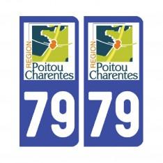 Sticker plaque Deux-Sèvres 79 - Pack de 2