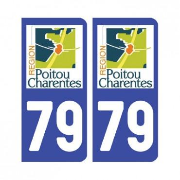 Sticker plaque Deux-Sèvres 79 - Pack de 2 - aquitaine-limousin-poitou-charentes & stickers muraux - fanastick.com