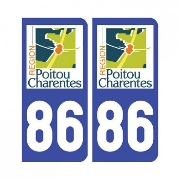 Sticker plaque Vienne 86 - Pack de 2 - aquitaine-limousin-poitou-charentes & stickers muraux - fanastick.com