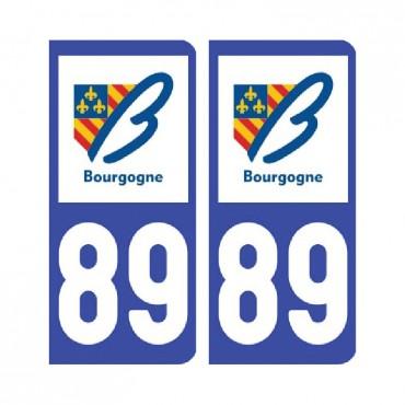 Sticker plaque Yonne 89 - Pack de 2 - bourgogne-franche-comté & stickers muraux - fanastick.com
