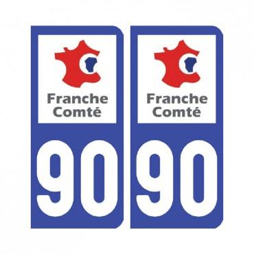 Sticker plaque Territoire-de-Belfort 90 - Pack de 2 - bourgogne-franche-comté & stickers muraux - fanastick.com