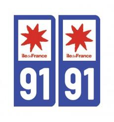 Sticker plaque Essonne 91 - Pack de 2