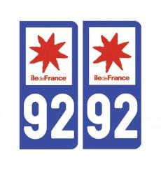 Sticker plaque Hauts-de-Seine 92 - Pack de 2