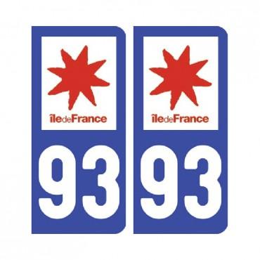 Sticker plaque Seine-Saint-Denis 93 - Pack de 2 - Île-de-france & stickers muraux - fanastick.com