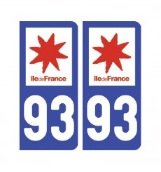 Sticker plaque Seine-Saint-Denis 93 - Pack de 2