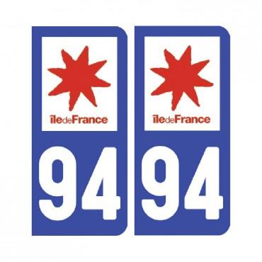 Sticker plaque Val-de-Marne 94 - Pack de 2 - Île-de-france & stickers muraux - fanastick.com