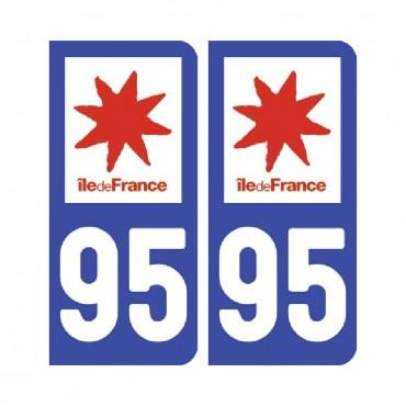 Sticker plaque Val-d'Oise 95 - Pack de 2 - Île-de-france & stickers muraux - fanastick.com