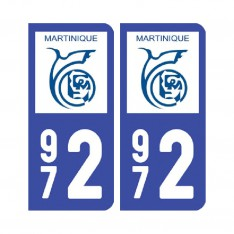 Sticker plaque Martinique - 972 Pack de 2