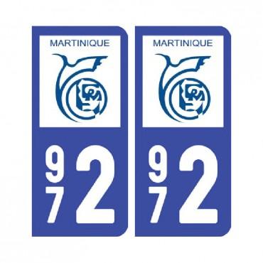 Sticker plaque Martinique - 972 Pack de 2 - drom & stickers muraux - fanastick.com