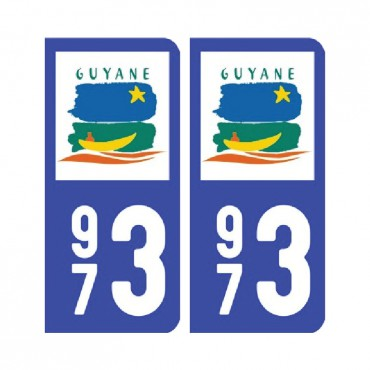 Sticker plaque Guyane 973 - Pack de 2 - drom & stickers muraux - fanastick.com