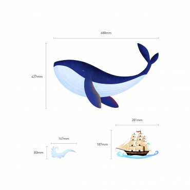 Sticker Baleine et bateau pirate - stickers pirates & stickers enfant - fanastick.com