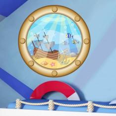 Sticker Hublot avec épave de bateau