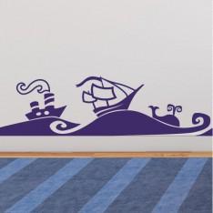 Sticker vagues de la mer et des bateaux