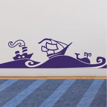 Sticker vagues de la mer et des bateaux - stickers pirates & stickers enfant - fanastick.com