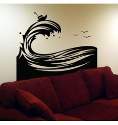 Sticker Vague d'océan avec bateau