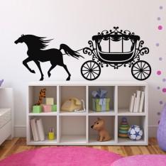 Sticker Carrosse et cheval au galop