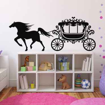Sticker Carrosse et cheval au galop - stickers princesse & stickers enfant - fanastick.com