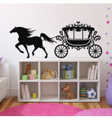 Sticker Carrosse et cheval au galop