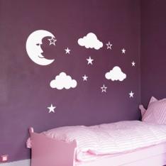 Sticker Étoiles, lune et nuages