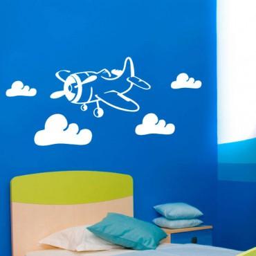 Sticker Avion dans les Nuages - stickers chambre garçon & stickers enfant - fanastick.com