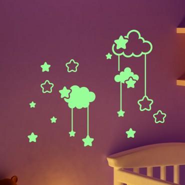Sticker Phosphorescent nuages et les étoiles - stickers nuages & stickers enfant - fanastick.com
