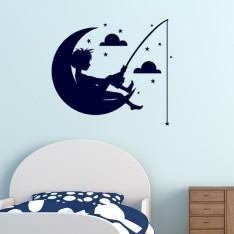 Sticker Lune, étoiles, nuage, enfant péchant