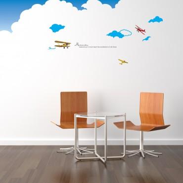 Sticker Muraux Avions dans les Nuages - stickers nuages & stickers enfant - fanastick.com