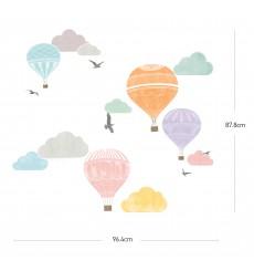 Sticker Montgolfière et nuages