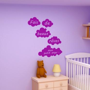 Sticker Fais de beaux rêves mon petit ange - stickers nuages & stickers enfant - fanastick.com