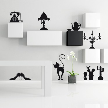 Sticker set d'objets déco - stickers salon & stickers muraux - fanastick.com