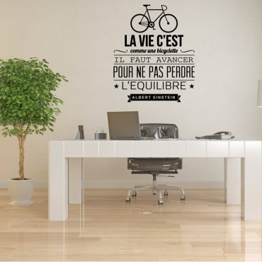Sticker La vie c'est comme une bicyclette - stickers citations & stickers muraux - fanastick.com