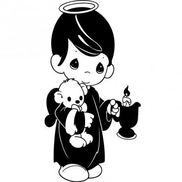 Sticker garçon avec son ours en peluche - dola & stickers muraux - fanastick.com