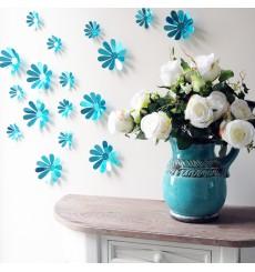 Sticker Pack de 12 fleurs 3D chics adhésives - Couleur au choix
