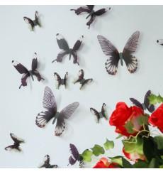 Sticker Papillons 3D - 18 stickers papillons 3D authentiques - Couleur au choix