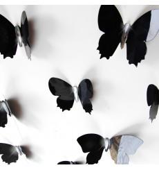 Sticker Kit de 12 Stickers papillons 3D Diamant - Noir ou Blanc