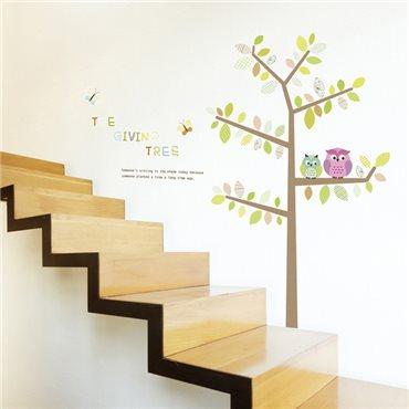Sticker hiboux et papillons sur un arbre - stickers animaux enfant & stickers enfant - fanastick.com