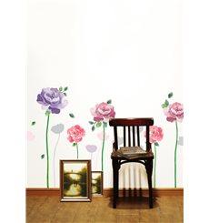 Sticker roses violettes et roses