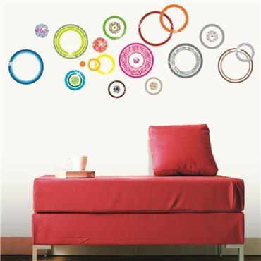 Sticker cercles design multicolores + 30 Swarovski Elements - stickers swarovski® elements & stickers muraux - fanastick.com