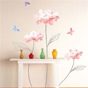 Sticker fleurs roses claires et papillons - stickers fleurs & stickers muraux - fanastick.com