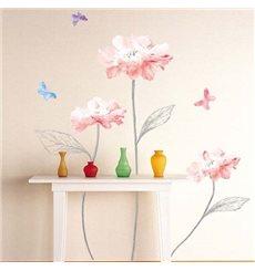 Sticker fleurs roses claires et papillons