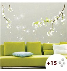Sticker fleurs de poirier +15 cristaux Swarovski