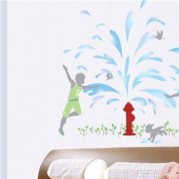 Sticker Fontaine d'eau et enfants - stickers chambre enfant & stickers enfant - fanastick.com