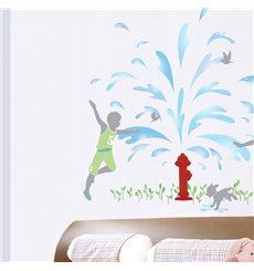 Sticker Fontaine d'eau et enfants