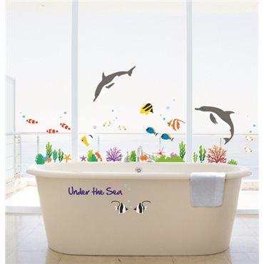 Sticker poissons dauphins - stickers baignoire & stickers muraux - fanastick.com
