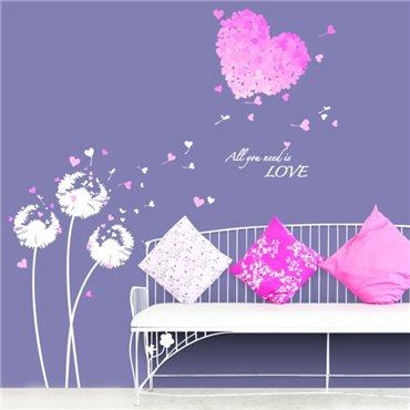 Sticker coeur en fleur rose - stickers fleurs & stickers muraux - fanastick.com