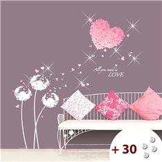 Sticker coeur en fleur rose + 30 Swarovski Elements