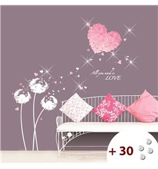 Sticker coeur en fleur rose + 30 Swarovski Elements